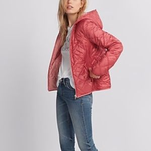 Express Pink Reversible Quilted Puffer Jacket